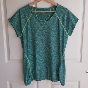 Athleta Green Pop Space Dye Tee Shirt Size Large